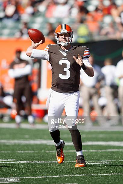 Brandon Weeden of the Cleveland Browns drops back to pass during the game against the Cincinnati Bengals at Paul Brown Stadium on September 16 2012...