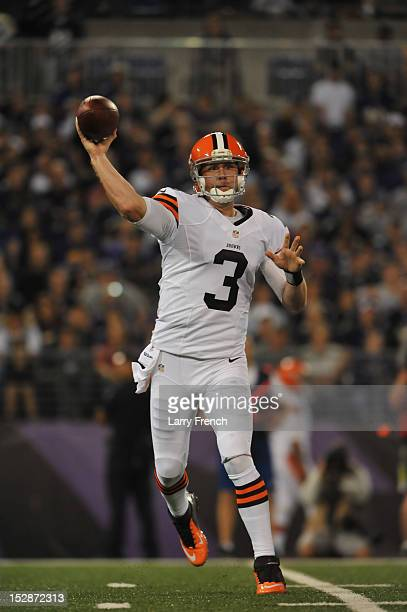 Brandon Weeden of the Cleveland Browns passes against the Baltimore Ravens at MT Bank Stadium on September 27 2012 in Baltimore Maryland The Ravens...