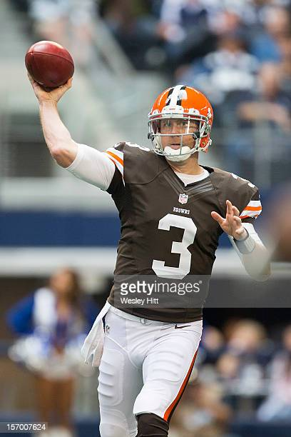 Brandon Weeden of the Cleveland Browns throws a pass against the Dallas Cowboys at Cowboys Stadium on November 18 2012 in Arlington Texas The Cowboys...