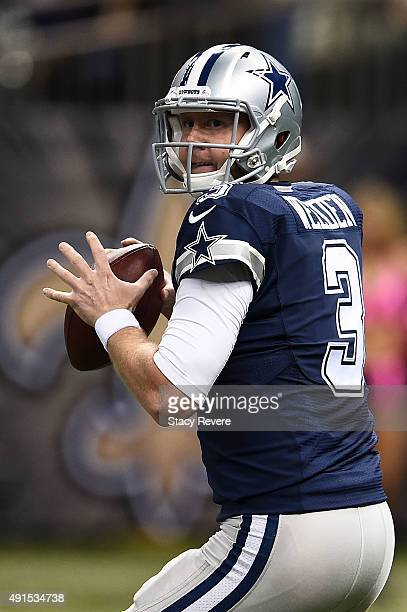 Brandon Weeden of the Dallas Cowboys drops back to pass during a game against the New Orleans Saints at the MercedesBenz Superdome on October 4 2015...