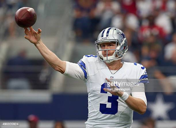 Brandon Weeden of the Dallas Cowboys looks for an open receiver against the Atlanta Falcons at ATT Stadium on September 27 2015 in Arlington Texas
