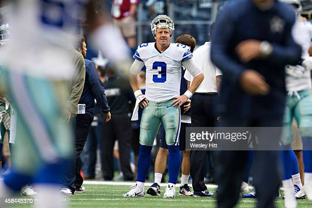 Brandon Weeden of the Dallas Cowboys warms up before the game against the Arizona Cardinals at ATT Stadium on November 2 2014 in Arlington Texas The...