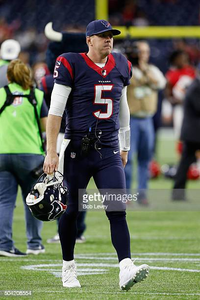 Brandon Weeden of the Houston Texans leaves the field after their 300 loss to the Kansas City Chiefs during the AFC Wild Card Playoff game at NRG...