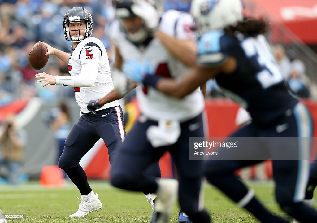 Brandon Weeden #5 of the Houston Texans throws a pass against the Tennessee Titans at LP Field on December 27, 2015 in Nashville, Tennessee.