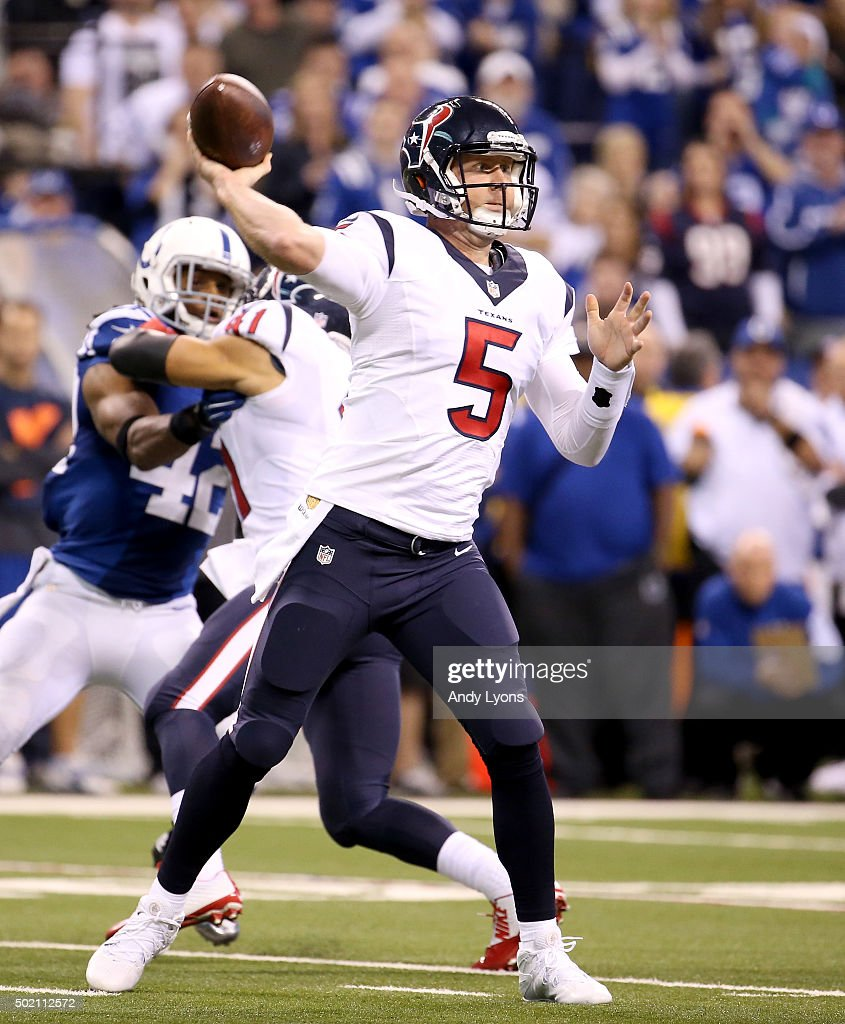Brandon Weeden #5 of the Houston Texans throws a pass against the Indianapolis Colts at Lucas Oil Stadium on December 20, 2015 in Indianapolis, Indiana.