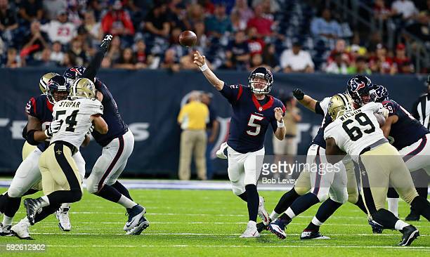 Brandon Weeden of the Houston Texans throws downfield against the New Orleans Saints during a preseason NFL game at NRG Stadium on August 20 2016 in...