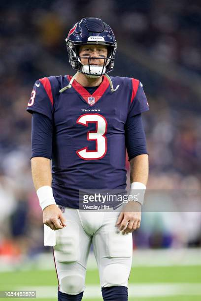 Brandon Weeden of the Houston Texans warming up before a game against the Dallas Cowboys at NRG Stadium on October 7 2018 in Houston Texans The...
