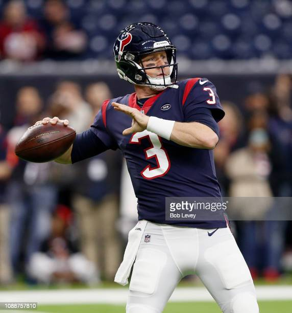 Brandon Weeden of the Houston Texans warms up before a football game against the Jacksonville Jaguars at NRG Stadium on December 30 2018 in Houston...