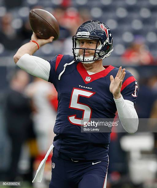 Brandon Weeden of the Houston Texans warmsup before the AFC Wild Card game at NRG Stadium on January 9 2016 in Houston Texas