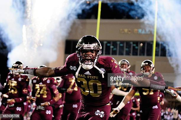 Brandon Wells of the Mississippi State Bulldogs takes the field prior to a game against the Ole Miss Rebels at Davis Wade Stadium on November 28 2013...