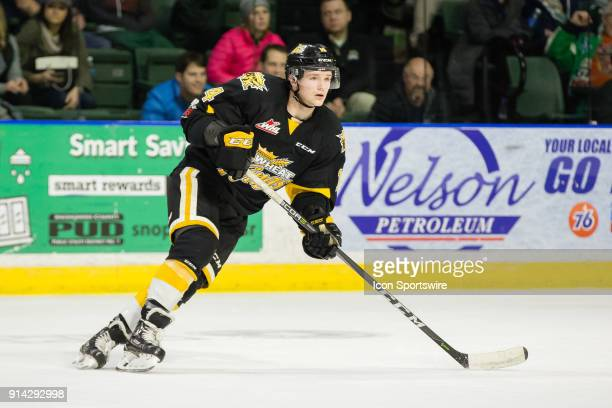 Brandon Wheat Kings forward Ty Lewis circles looking for a pass during the third period in a game between the Everett Silvertips and the Brandon...