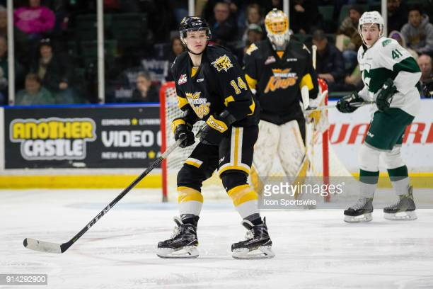 Brandon Wheat Kings forward Ty Lewis follows the puck on a penalty kill during the third period in a game between the Everett Silvertips and the...