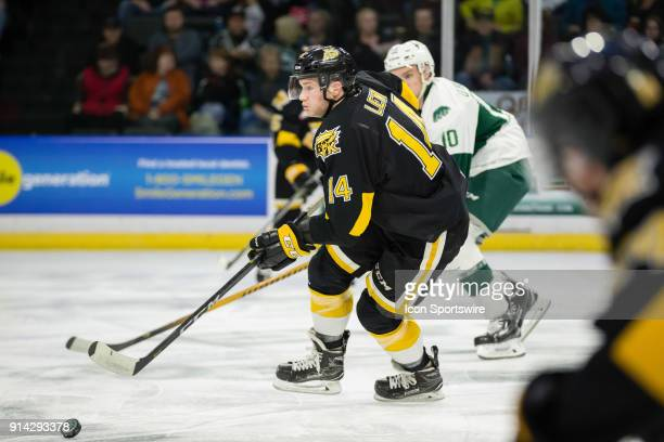 Brandon Wheat Kings forward Ty Lewis skates the puck up the ice in a game between the Everett Silvertips and the Brandon Wheat Kings on Saturday...