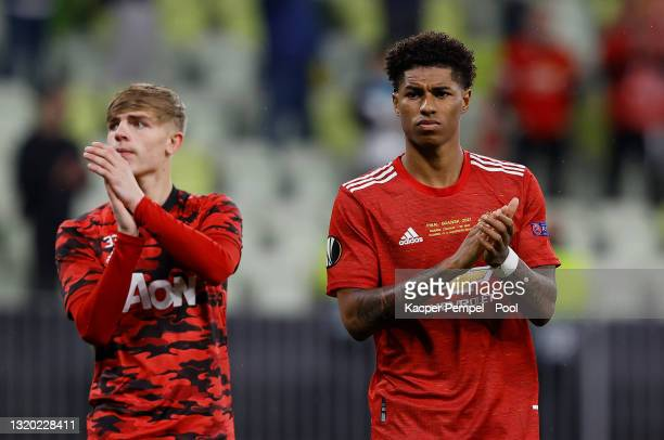 Brandon WIlliams and Marcus Rashford of Manchester United react following the UEFA Europa League Final between Villarreal CF and Manchester United at...
