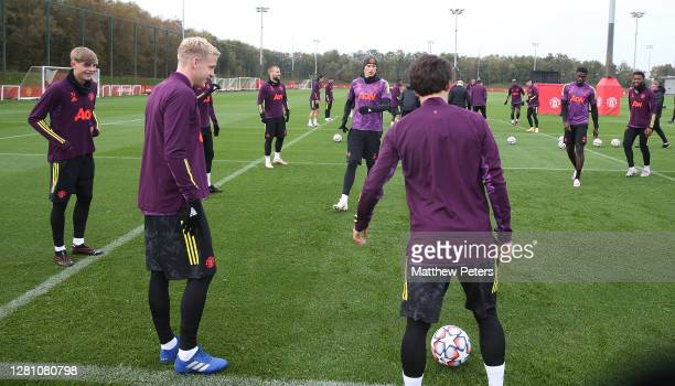 Brandon Williams Donny van de Beek Luke Shaw Scott McTominay Axel Tuanzebe of Manchester United in action during a first team training session ahead...