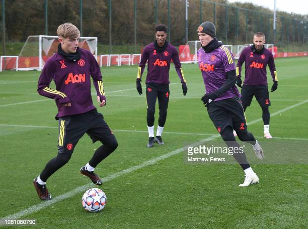 Brandon Williams Marcus Rashford Scott McTominay Luke Shaw of Manchester United in action during a first team training session ahead of the UEFA...
