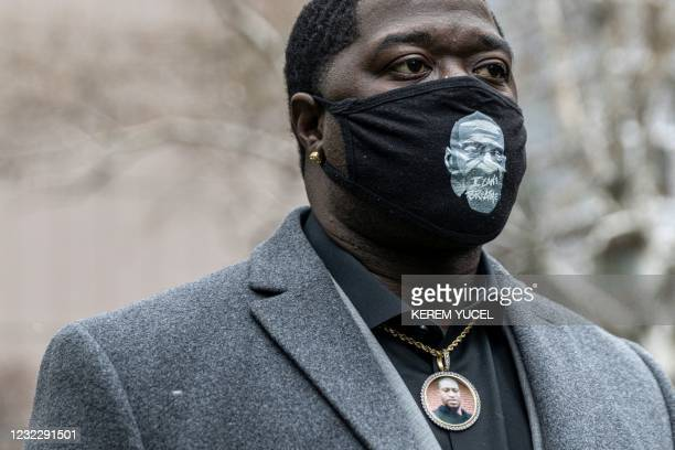 Brandon Williams, nephew of George Floyd, attends a press conference with the family of Daunte Wright at the Hennepin County Government Center in...