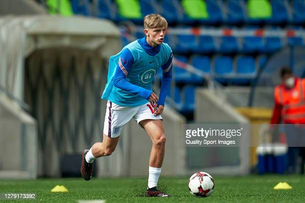 Brandon Williams of England during the prematch warm up prior to 2020 UEFA European Under21 Championship Group C Qualifier between Andorra and...