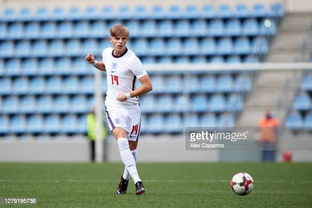 Brandon Williams of England plays the ball during the UEFA Euro U21 Qualifier between Andorra U21 and England U21 at Estadi Nacional on October 07...