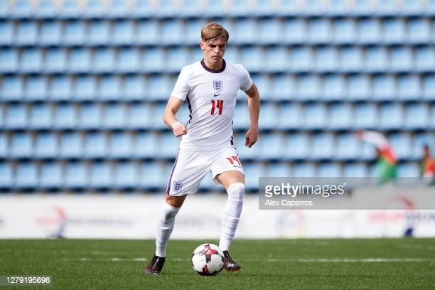 Brandon Williams of England runs with the ball during the UEFA Euro U21 Qualifier between Andorra U21 and England U21 at Estadi Nacional on October...