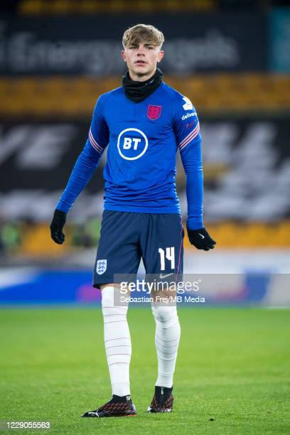 Brandon Williams of England warm up during the UEFA Euro Under 21 Qualifier match between England U21 and Turkey U21 at Molineux on October 13 2020...
