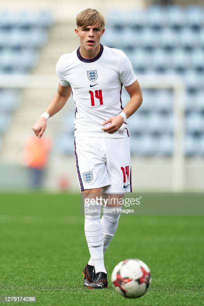 Brandon Williams of England with the ball during the 2020 UEFA European Under21 Championship Group C Qualifier between Andorra and England at Estadi...