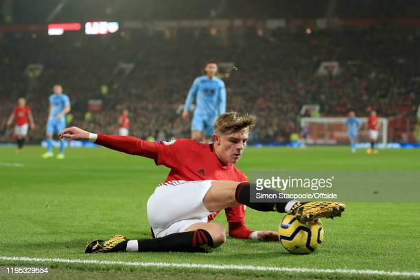 Brandon Williams of Man Utd controls the ball at the byline during the Premier League match between Manchester United and Burnley FC at Old Trafford...