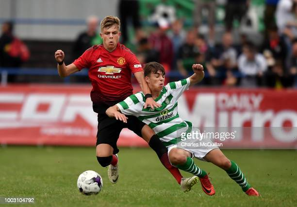 Brandon Williams of Manchester United and Grant Savoury of Celtic during the u19 NI Super Cup gala match at Coleraine Showgrounds on July 21 2018 in...