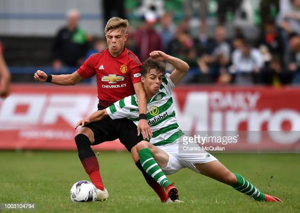 Largie Ramazani of Manchester United and Lewis Bell of Celtic during the U19 NI Super Cup gala match at Coleraine Showgrounds on July 21 2018 in...