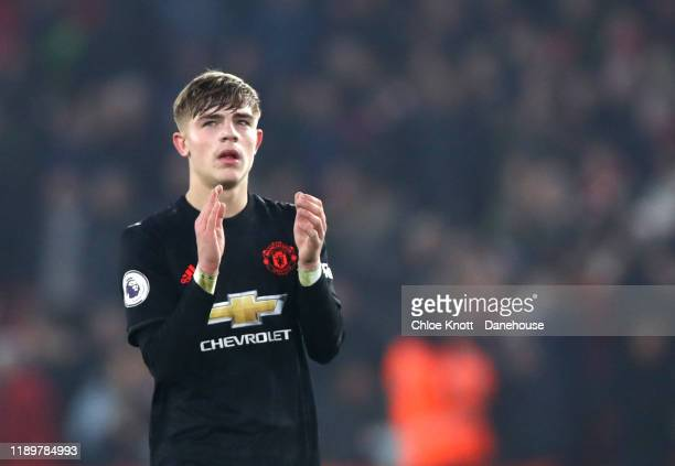 Brandon Williams of Manchester United applauds the fans after the Premier League match between Sheffield United and Manchester United at Bramall Lane...