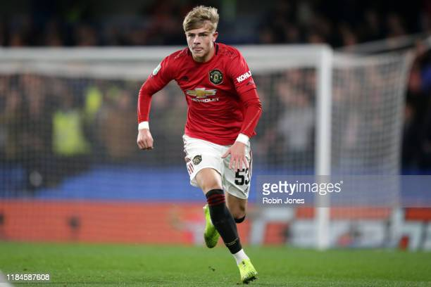 Brandon Williams of Manchester United during the Carabao Cup Round of 16 match between Chelsea FC and Manchester United at Stamford Bridge on October...
