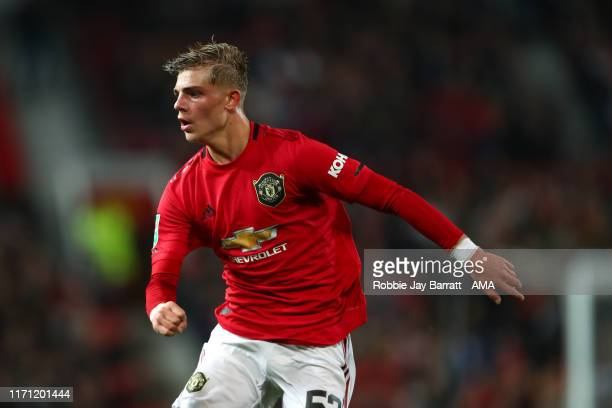 Brandon Williams of Manchester United during the Carabao Cup Third Round match between Manchester United and Rochdale AFC at Old Trafford on...