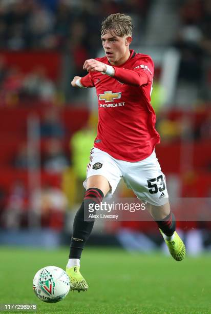 Brandon Williams of Manchester United during the Carabao Cup Third Round match between Manchester United and Rochdale at Old Trafford on September 25...