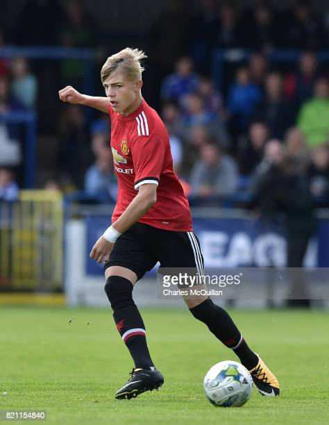 Brandon Williams of Manchester United during the NI Super Cup game between Manchester United u18s and Northern Ireland u18s at the Showgrounds on...