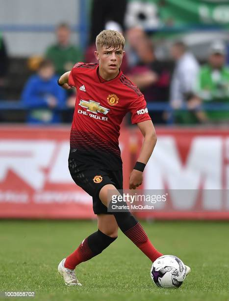 Brandon Williams of Manchester United during the U19 NI Super Cup gala match between Manchester United and Celtic at Coleraine Showgrounds on July 21...