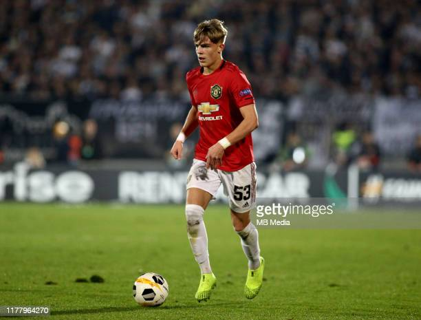 Brandon Williams of Manchester United during the UEFA Europa League group L match between Partizan and Manchester United at Partizan Stadium on...