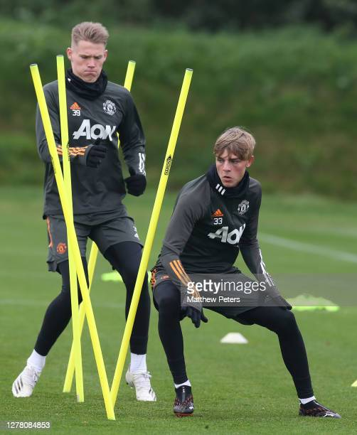 Brandon Williams of Manchester United in action during a first team training session at Aon Training Complex on October 02 2020 in Manchester England