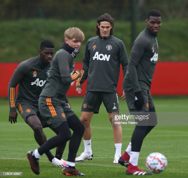 Brandon Williams of Manchester United in action during a first team training session at Aon Training Complex on October 18 2020 in Manchester England