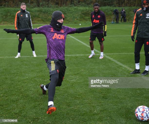 Brandon Williams of Manchester United in action during a first team training session ahead of the UEFA Champions League Group H stage match between...