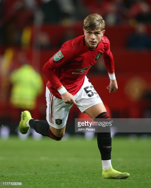 Brandon Williams of Manchester United in action during the Carabao Cup Third Round match between Manchester United and Rochdale AFC at Old Trafford...