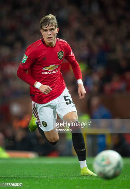 Brandon Williams of Manchester United in action during the Carabao Cup Third Round match between Manchester United and Rochdale at Old Trafford on...