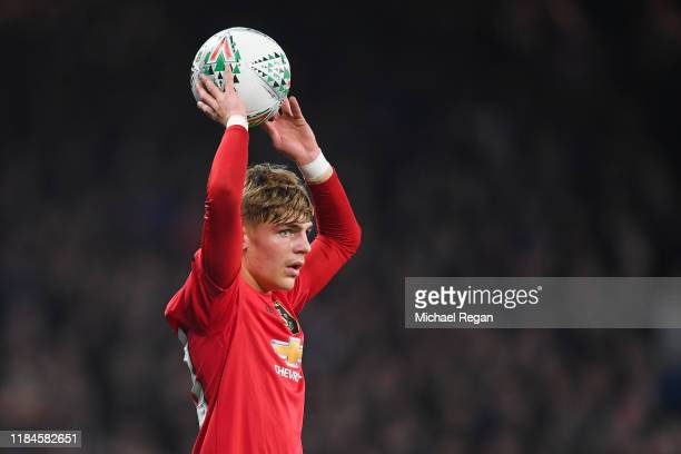 Brandon Williams of Manchester United in action during the Carabao Cup Round of 16 match between Chelsea and Manchester United at Stamford Bridge on...