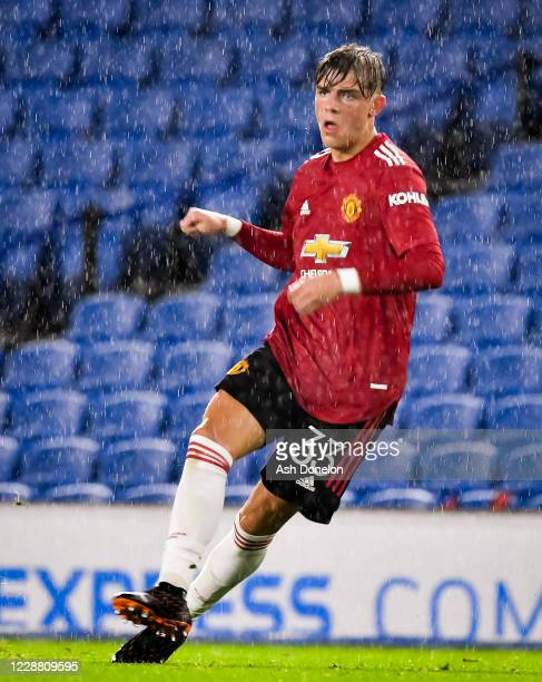 Brandon Williams of Manchester United in action during the Carabao Cup fourth round match between Brighton and Hove Albion and Manchester United at...