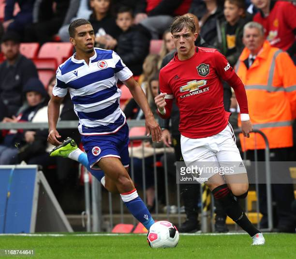 Brandon Williams of Manchester United in action during the Premier League 2 match between Manchester United U23s and Reading U23s at Leigh Sports...