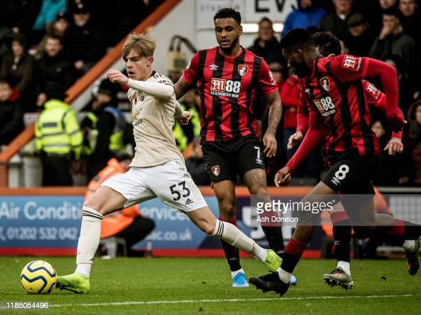 Brandon Williams of Manchester United in action during the Premier League match between AFC Bournemouth and Manchester United at Vitality Stadium on...