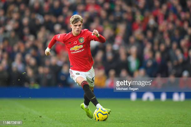 Brandon Williams of Manchester United in action during the Premier League match between Manchester United and Brighton Hove Albion at Old Trafford on...