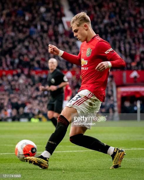 Brandon Williams of Manchester United in action during the Premier League match between Manchester United and Manchester City at Old Trafford on...