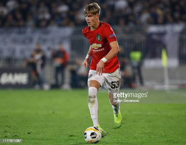 Brandon Williams of Manchester United in action during the UEFA Europa League group L match between Partizan and Manchester United at Partizan...