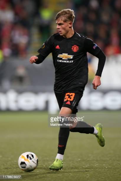 Brandon Williams of Manchester United in action during the UEFA Europa League group L match between AZ Alkmaar and Manchester United at Ado Den Haag...