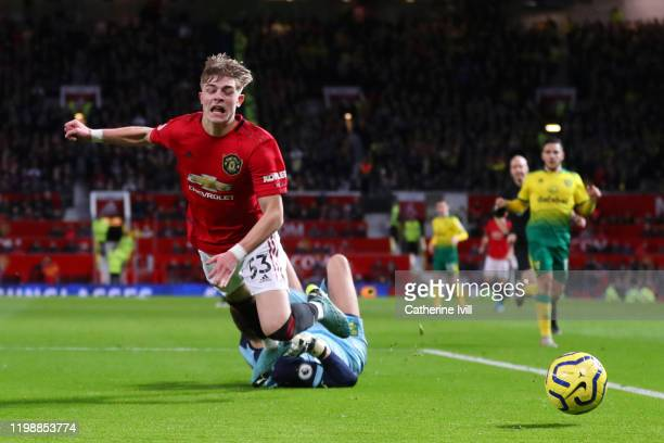 Brandon Williams of Manchester United is fouled by Tim Krul of Norwich City resulting in a penalty during the Premier League match between Manchester...